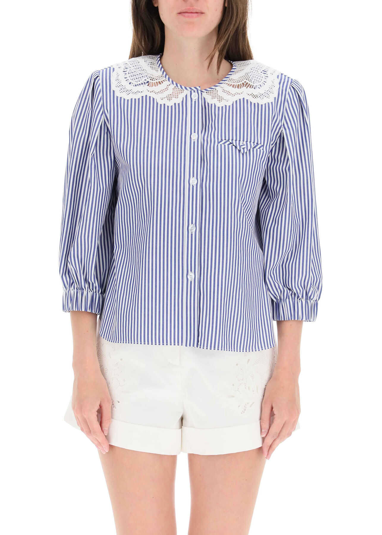 Self-Portrait Embroidered Striped Shirt SS21 045TS MULTICOLOUR image0