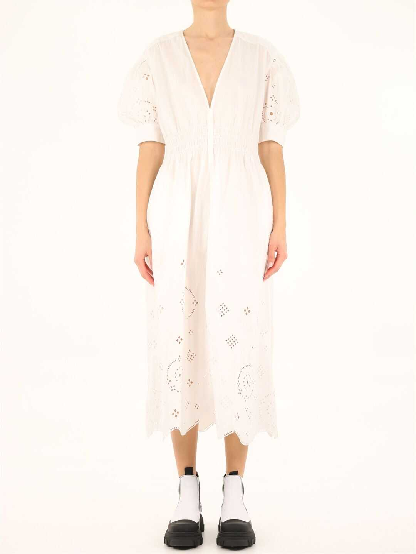Ganni Broderie Anglaise Midi Dress F5989 White image0
