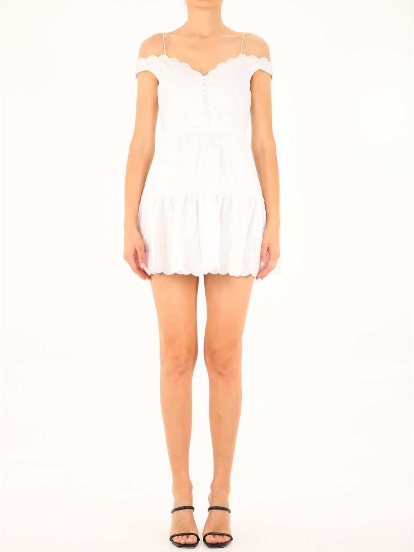 Self-Portrait Embroidered Off Shoulder Mini Dress 027N White image0