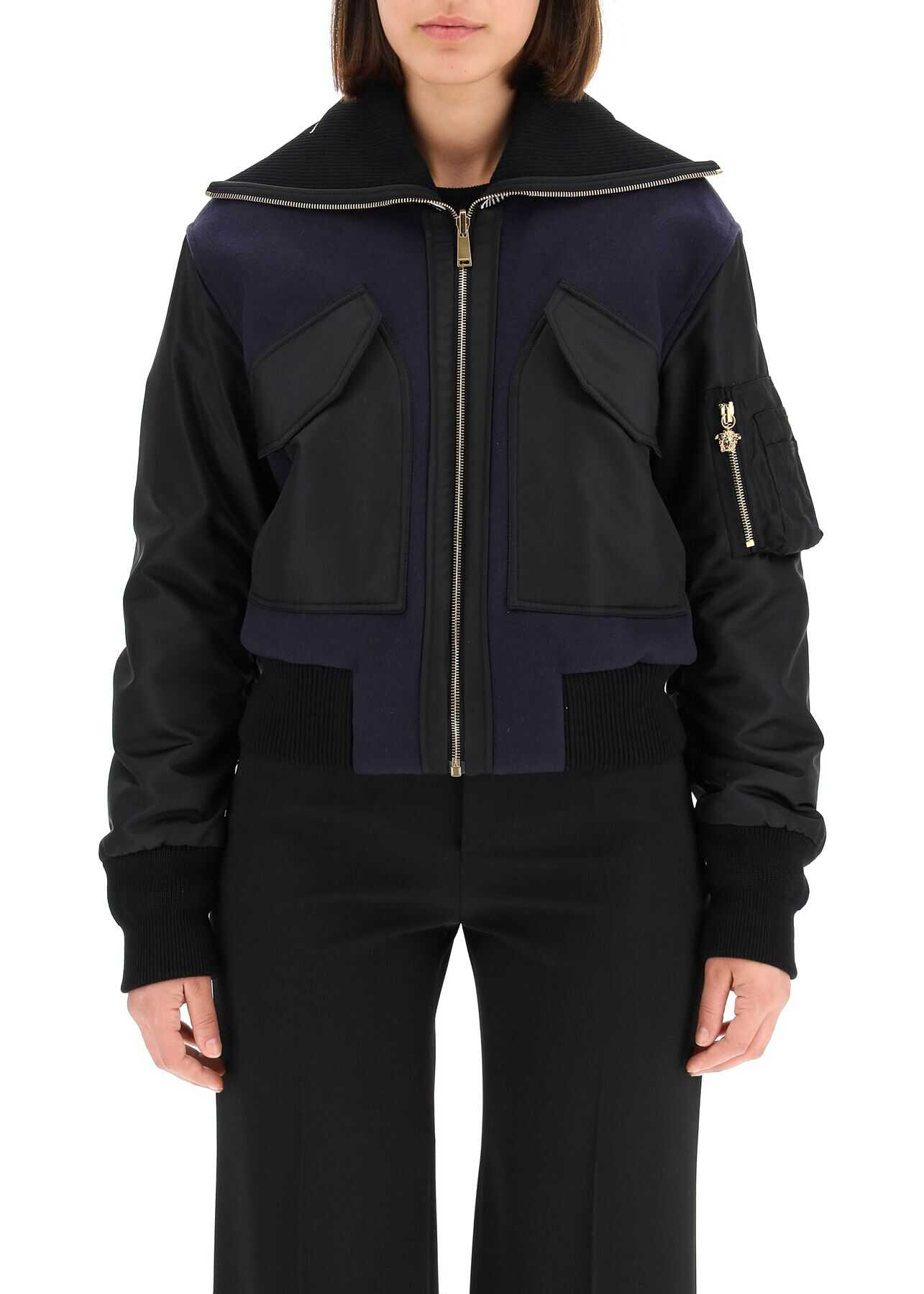 Versace Dual-Material Bomber Jacket With Logo 1001244 1A00901 BLUE BLACK image0