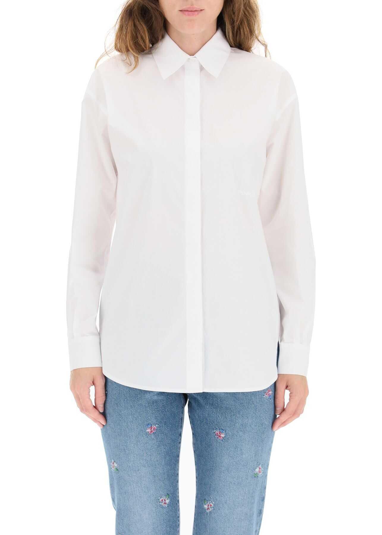 Pinko Bridport Poplin Shirt 1G16VK Y6VW BIANCO BRILL image0