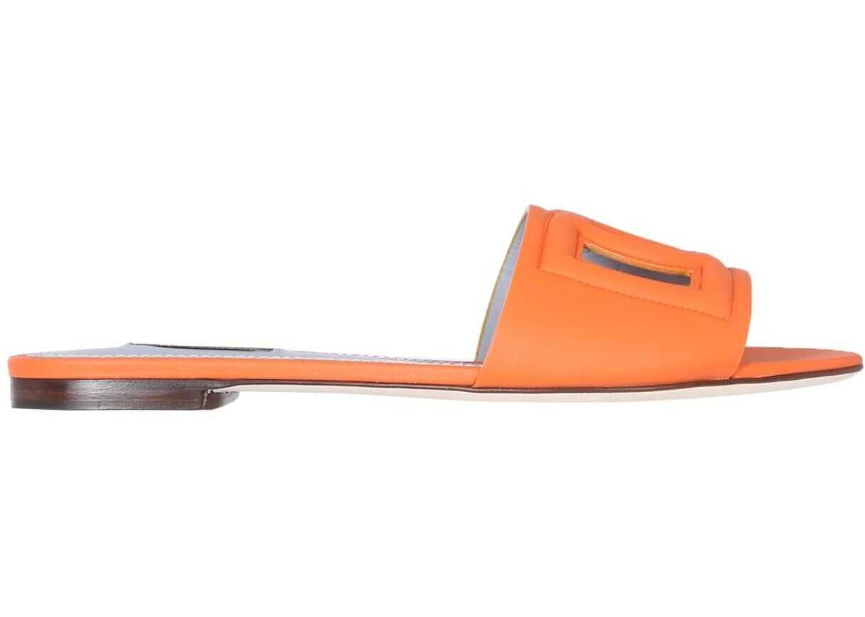 Dolce & Gabbana Slide Sandals With Logo* ORANGE