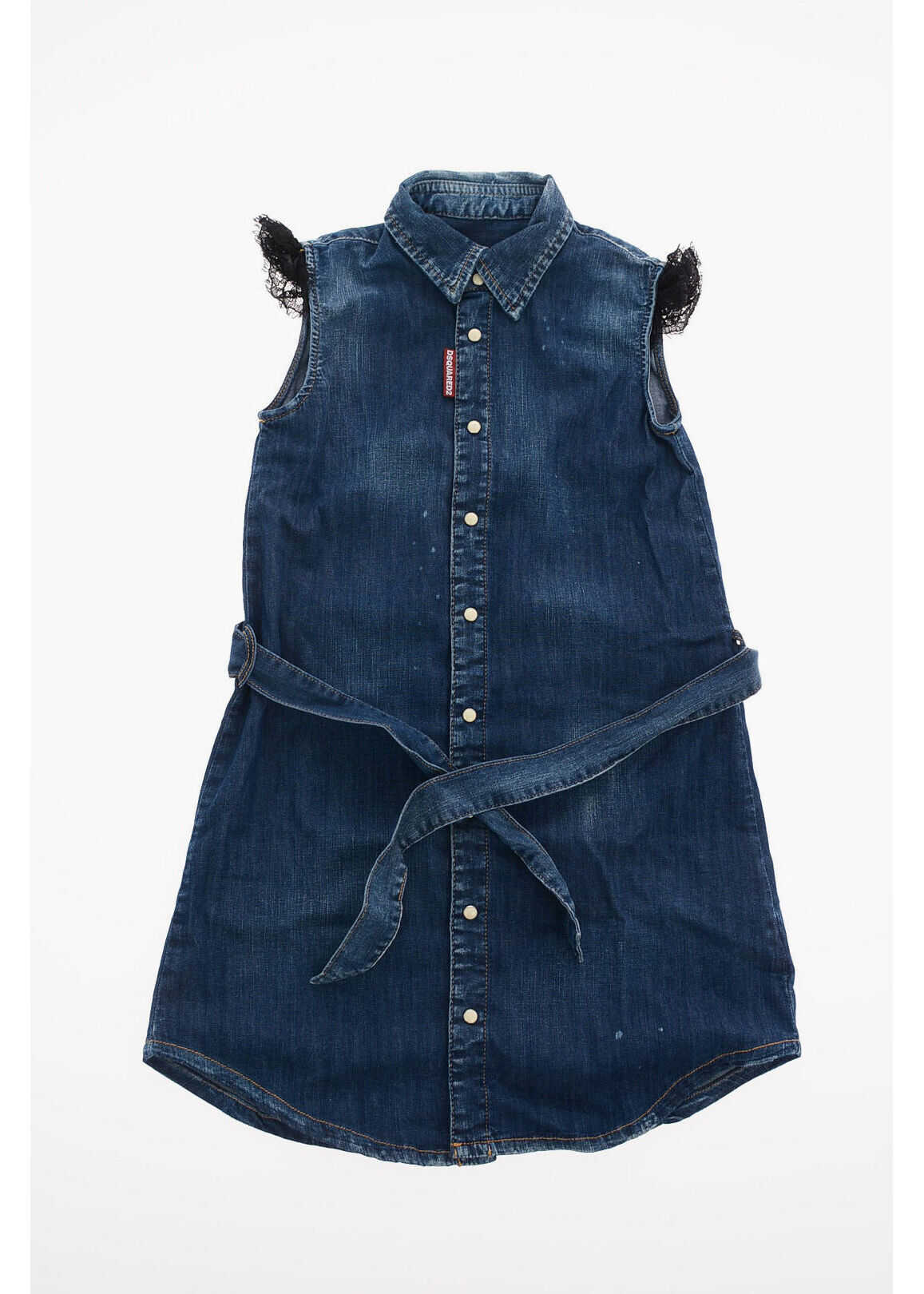 Dsquared2 Kids Stretch Denim Belted Shirtdress* Blue