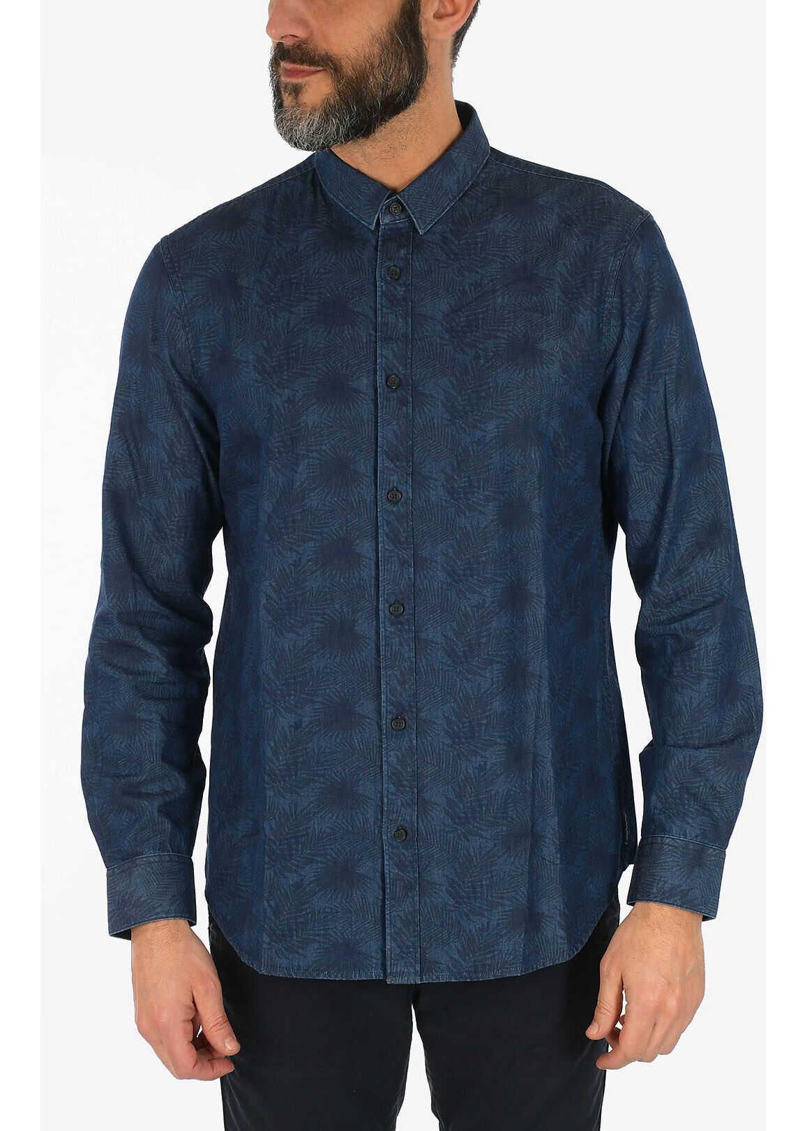 Armani Armani Exchange Classic Collar Leaf-Print Shirt* Blue