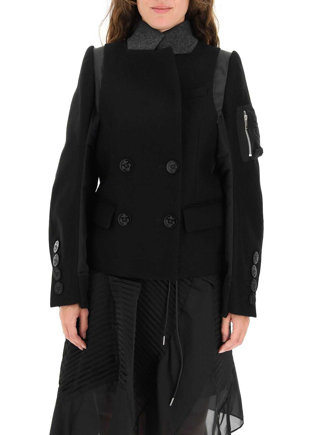 Sacai Double-Breasted Caban With Bomber Inserts 21 05837 BLACK image0