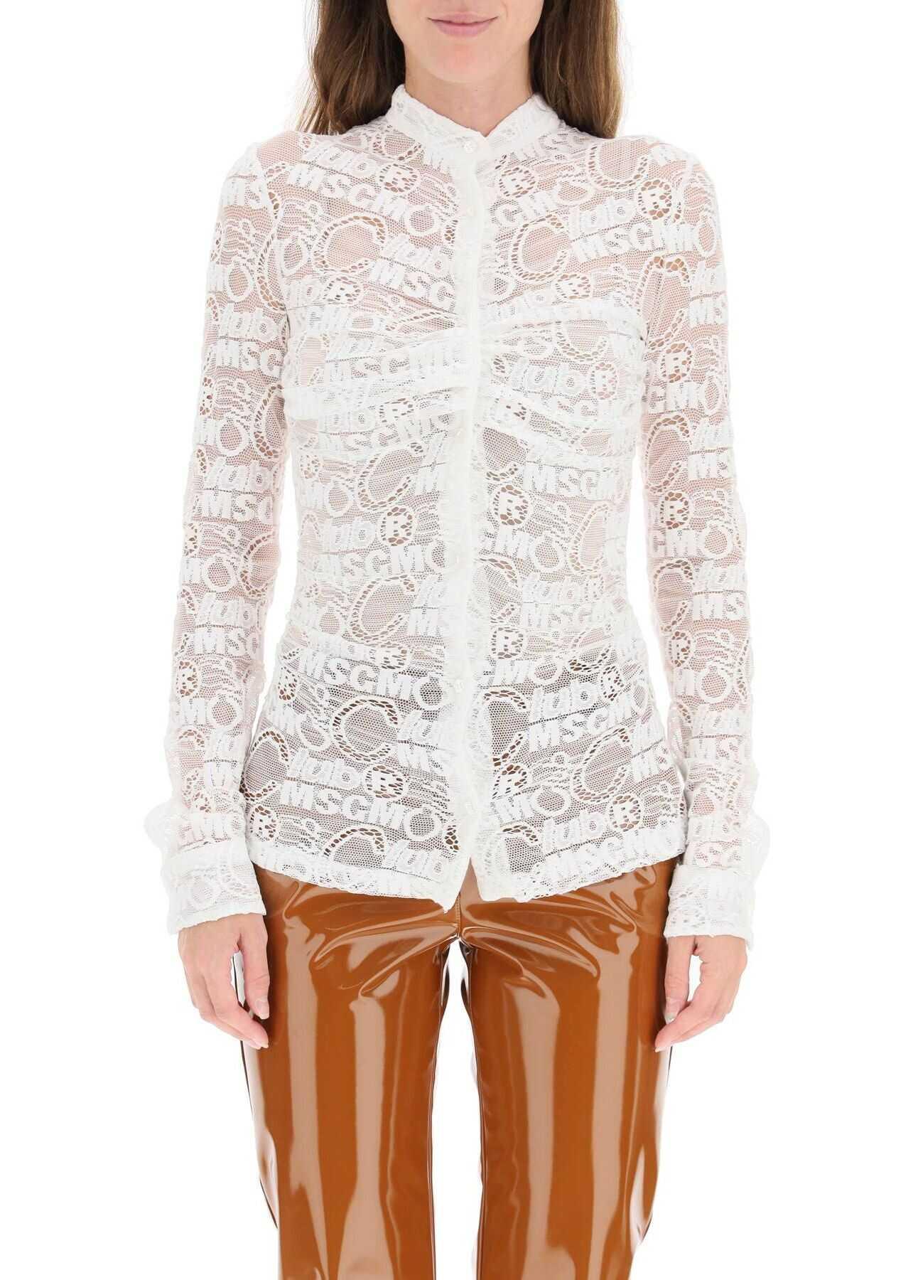 MSGM Monogram Lace Shirt 3142MDE103 217807 OPTICAL WHITE image0