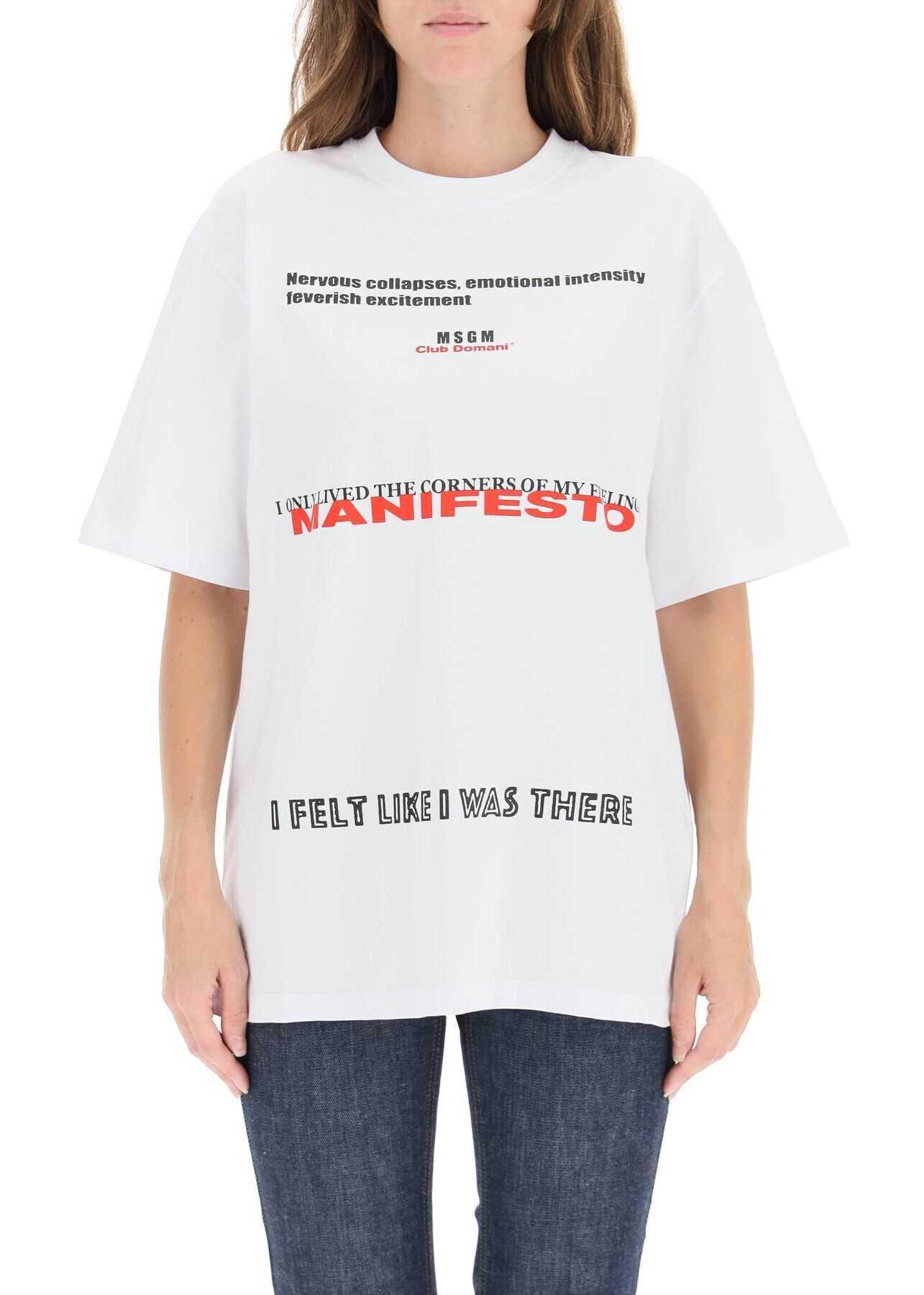 MSGM T-Shirt With Manifesto Graphics 3142MDM190 217798 OPTICAL WHITE image0