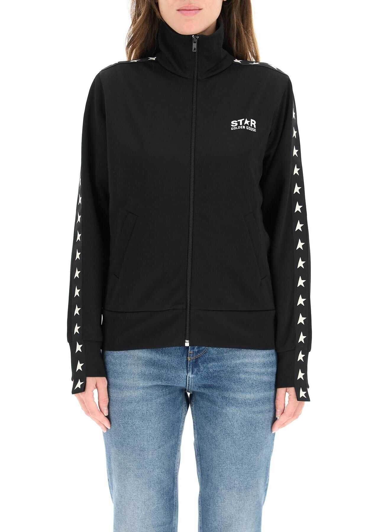 Golden Goose Denise Sweatshirt With Zip And Bands With Stars GWP00875 P000520 BLACK WHITE image0