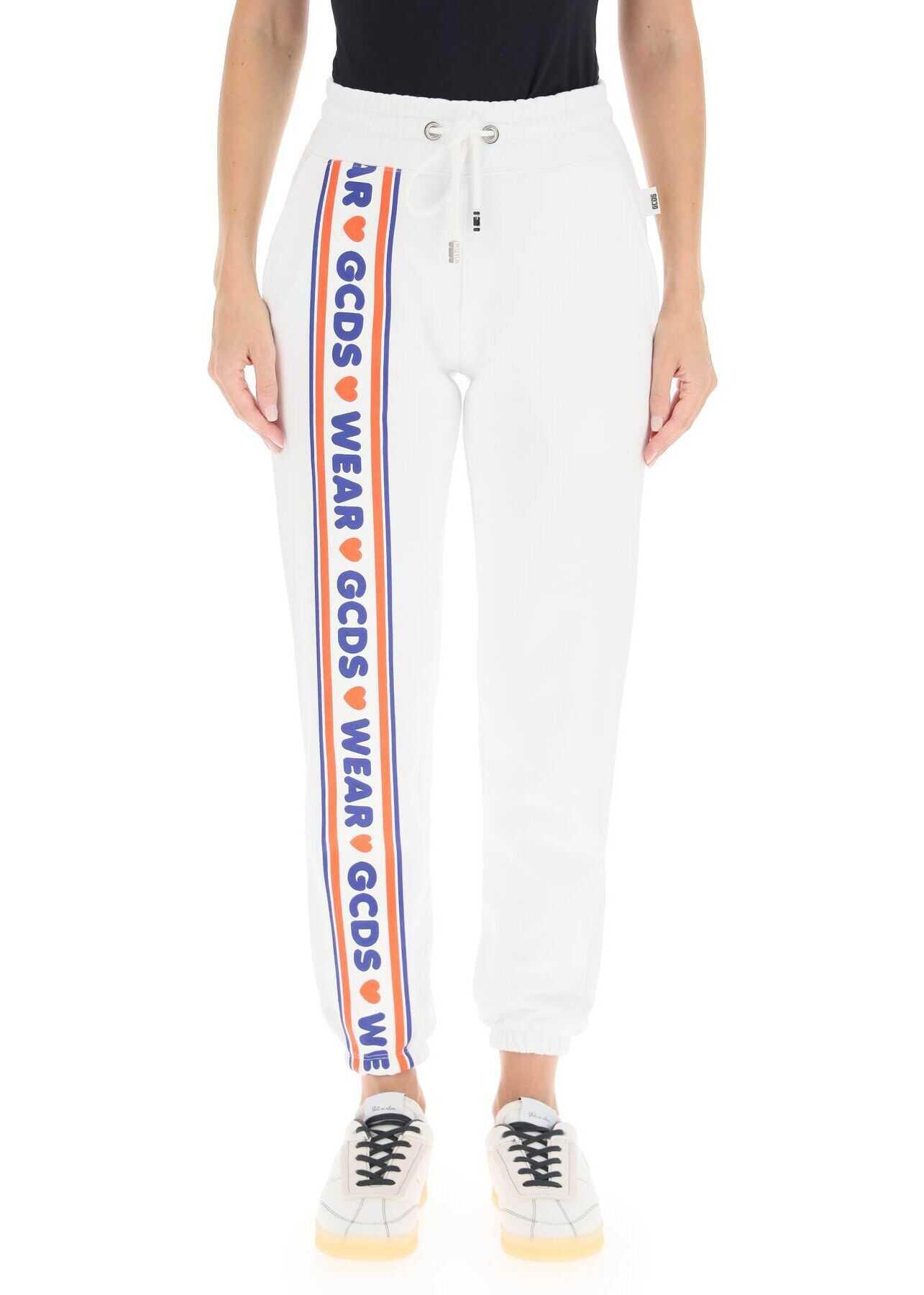 GCDS Logo Band Sweatpants CC94W031456 WHITE image0