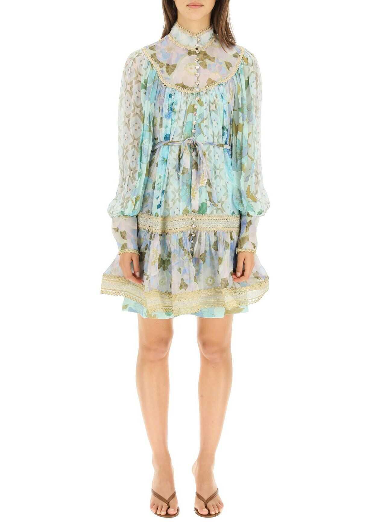 ZIMMERMANN Rhythm Mini Dress With Trimmings 2253DRHY ACQUA MIXED PRINT image0
