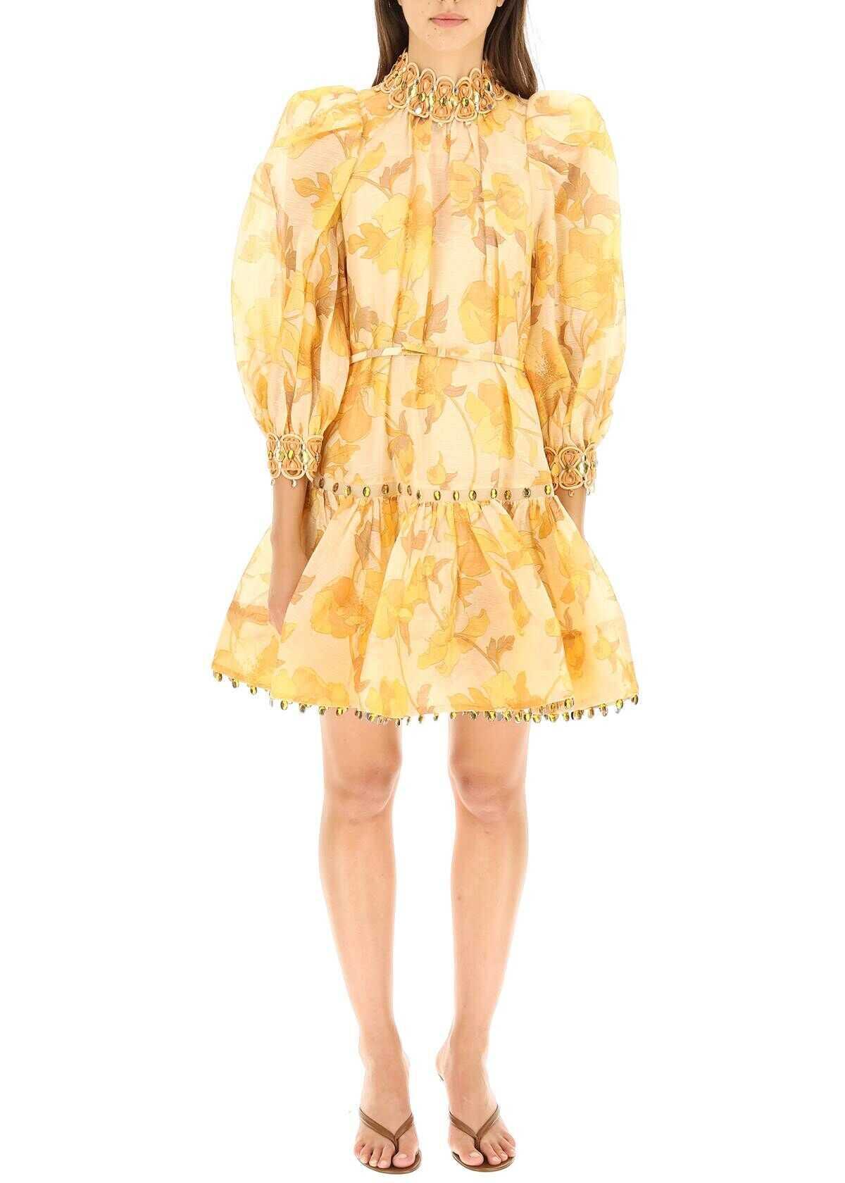ZIMMERMANN Tempo Rouleau Mini Dress 2014DTEM GOLD PEONIES image0
