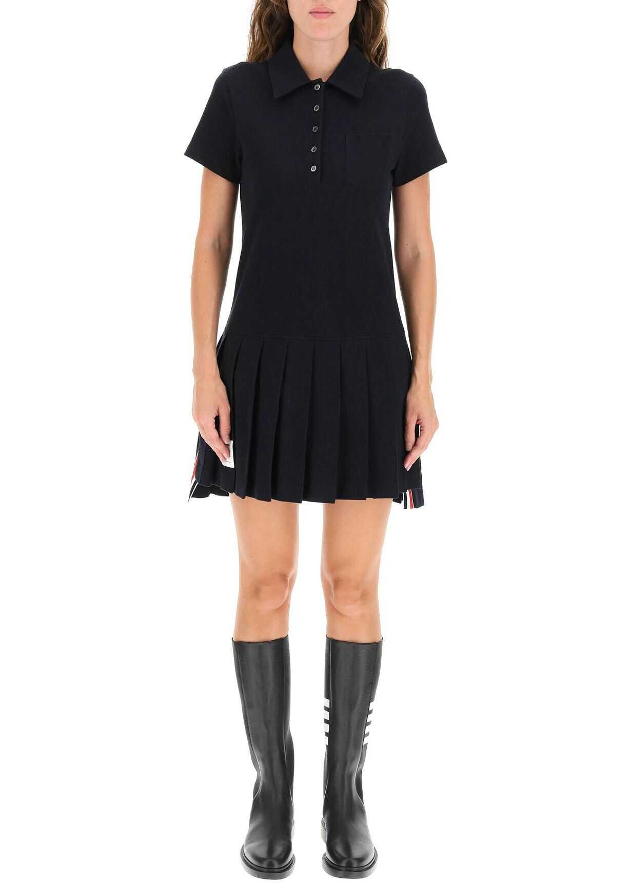 Thom Browne Polo Dress With Pleated Hem FJD086A00050 NAVY image0