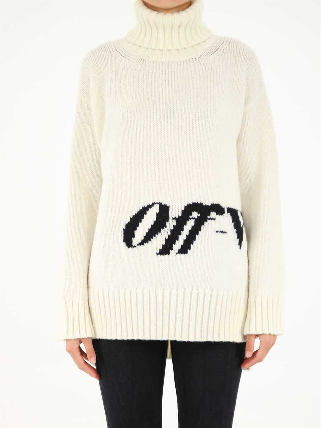Off-White High Neck Sweater With Logo OWHF019F21KNI001 White image0