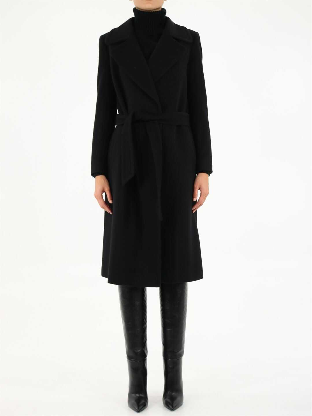 Tagliatore Molly Belted Coat In MOLLY 35001 Black image0