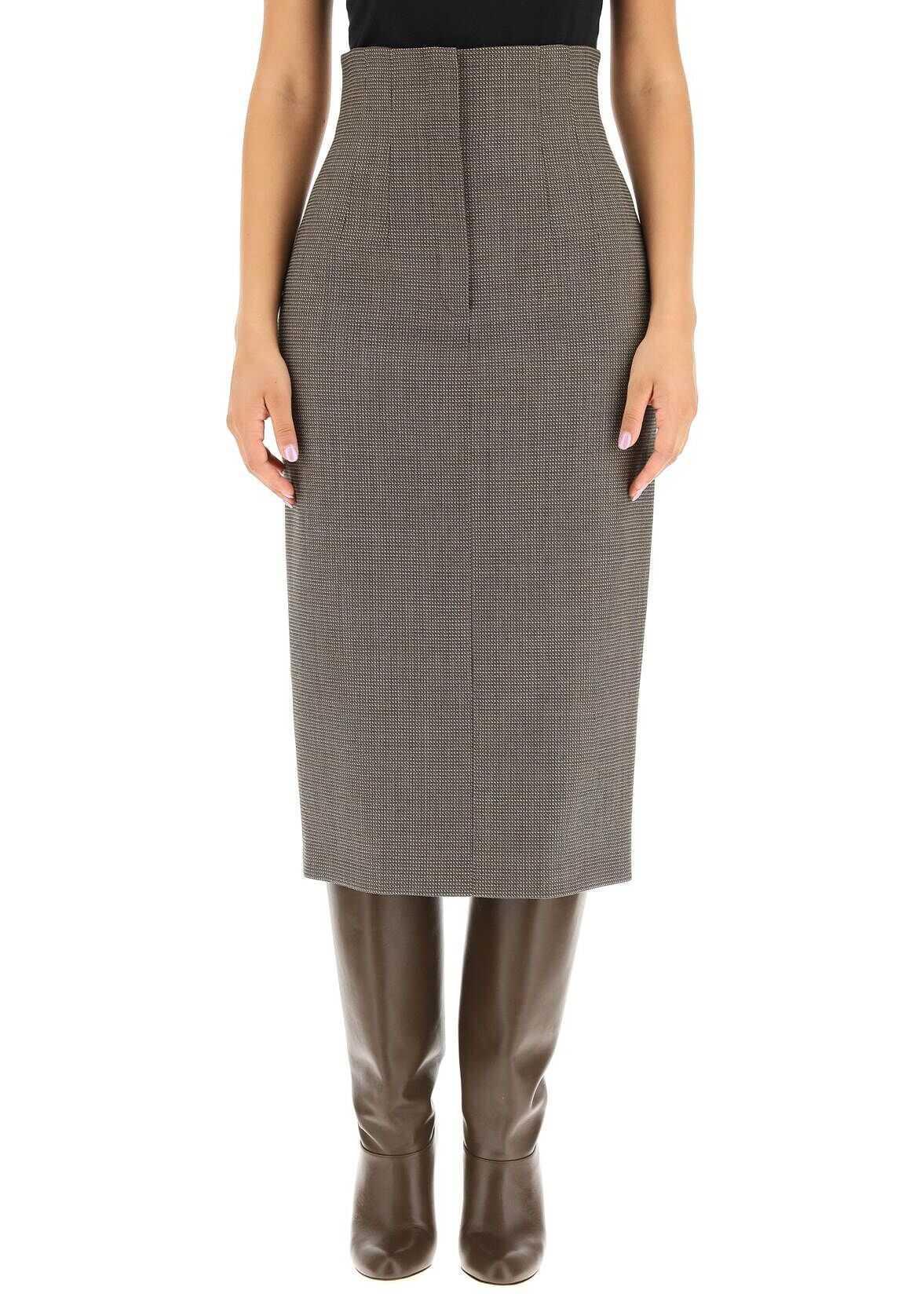 Fendi High Waisted Midi Skirt In Wool FQ7221 AHL6 OPERATOR image0