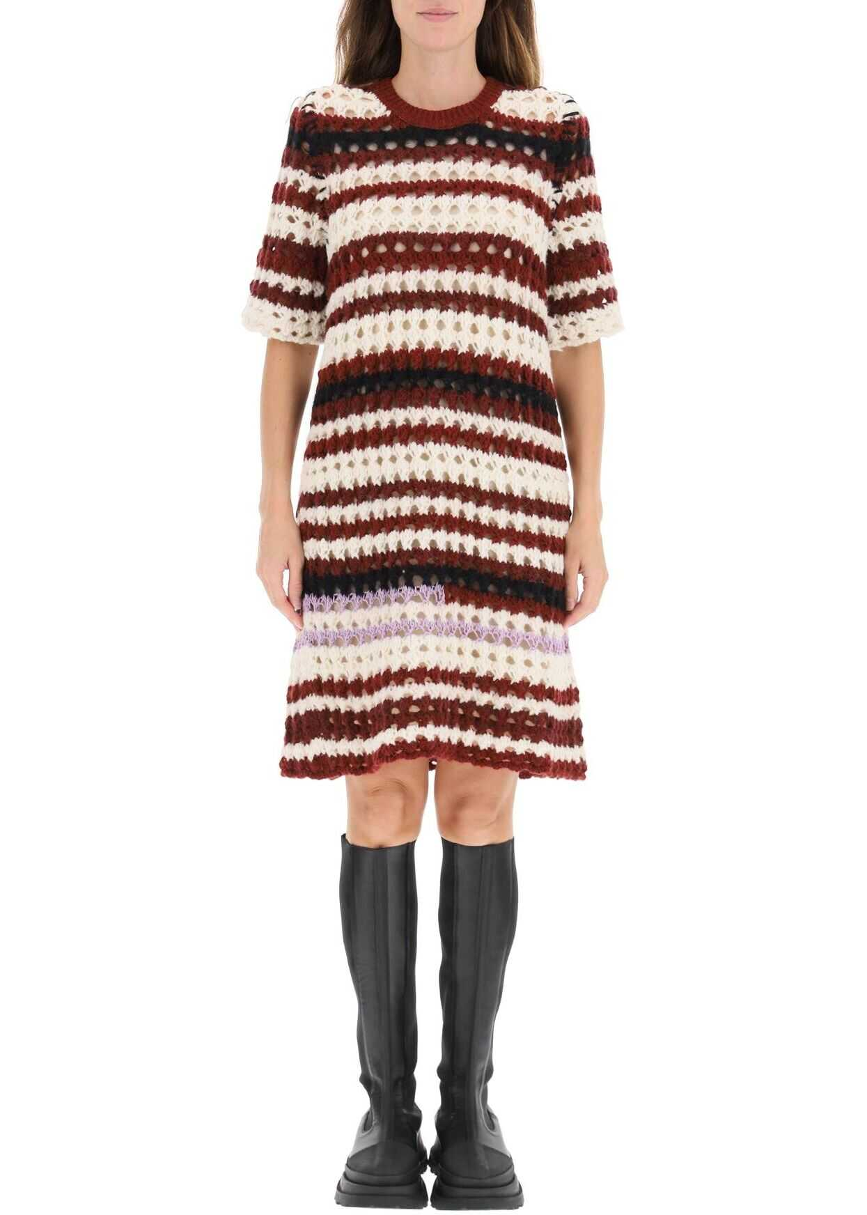 Marni Striped Crochet Dress ABMD0104EQUFW021 BURGUNDY image0