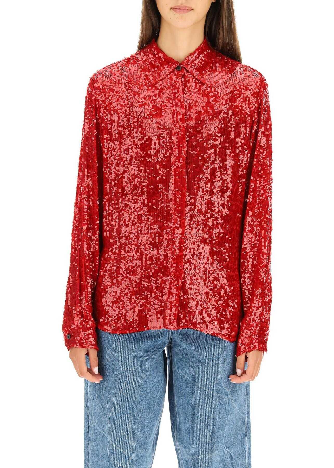 Dries Van Noten Sequined Shirt CHOW EMB 3223 RED image0