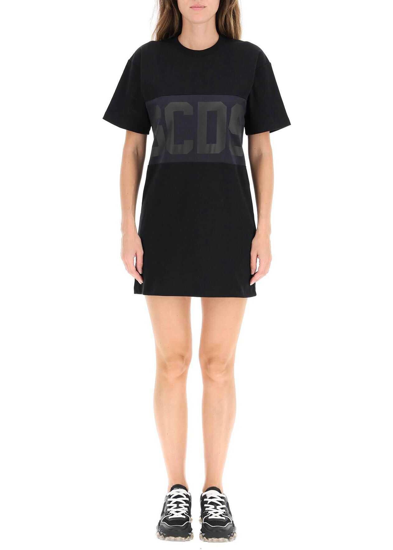 GCDS Logo Band T-Shirt Dress CC94W020510 BLACK image0
