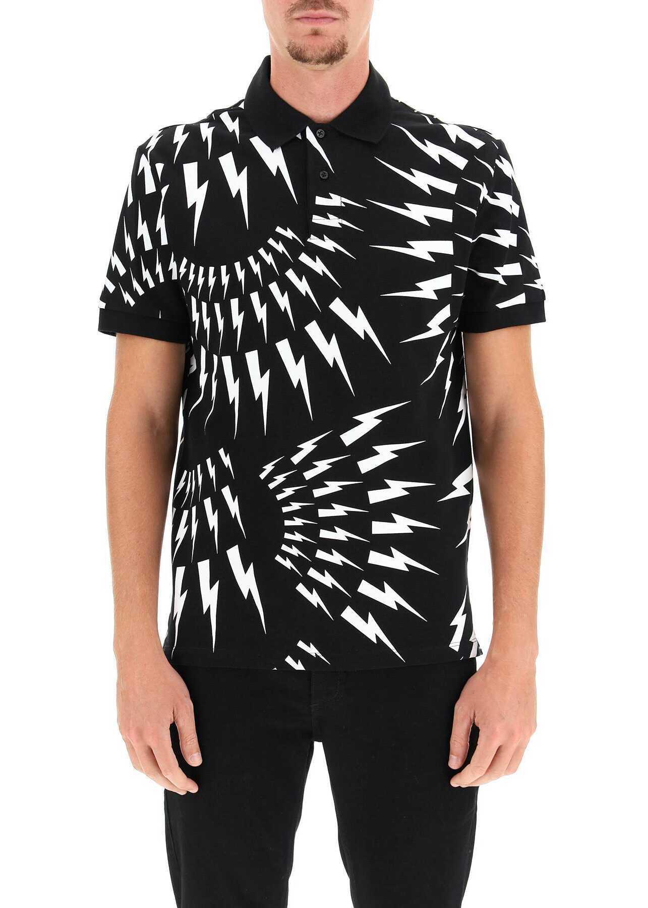 Neil Barrett Crazy Bolts Polo Shirt BJT010S R535S BLACK WHITE image0