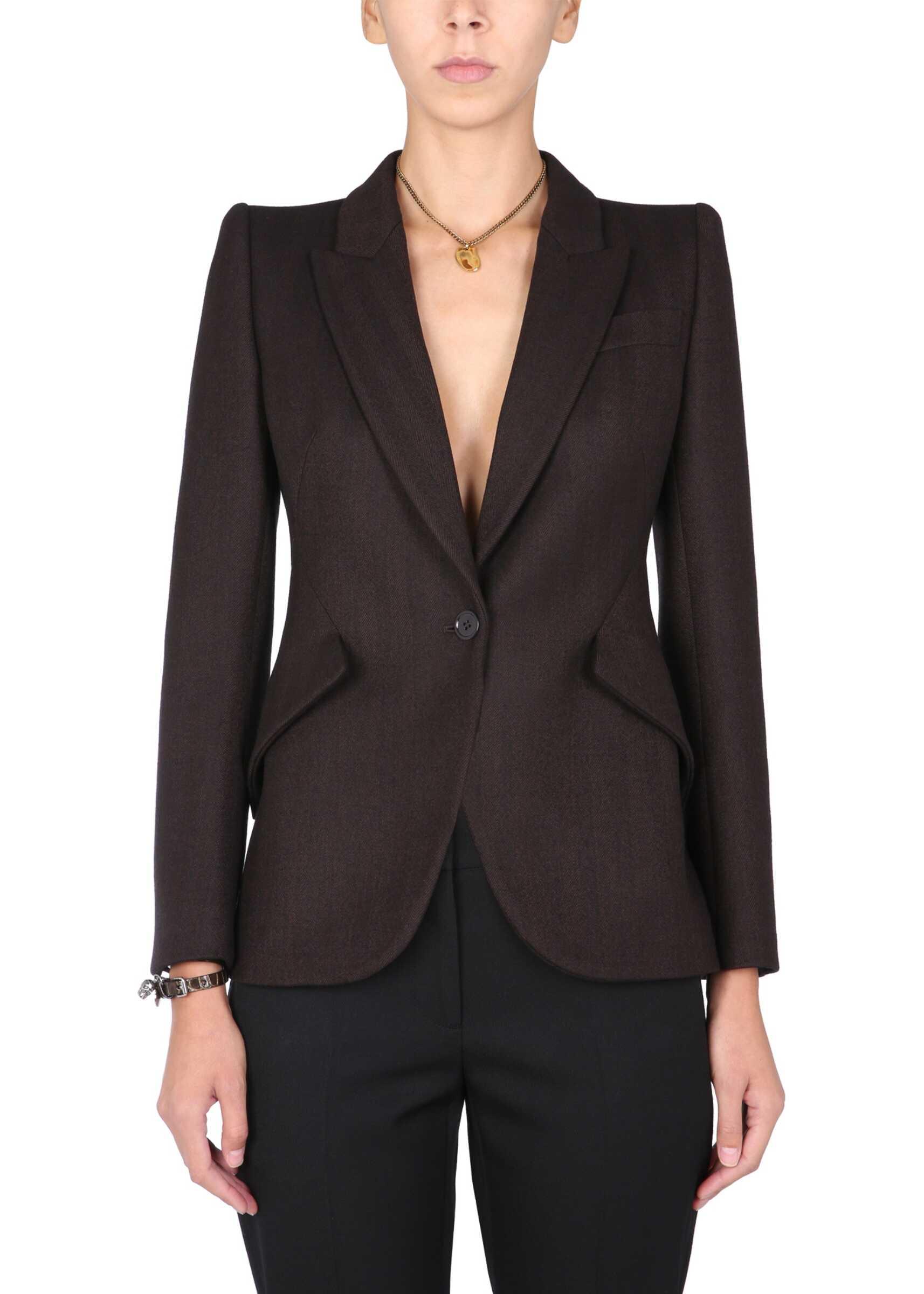 Alexander McQueen Tailored Jacket 585442_QJACG2017 BROWN image0