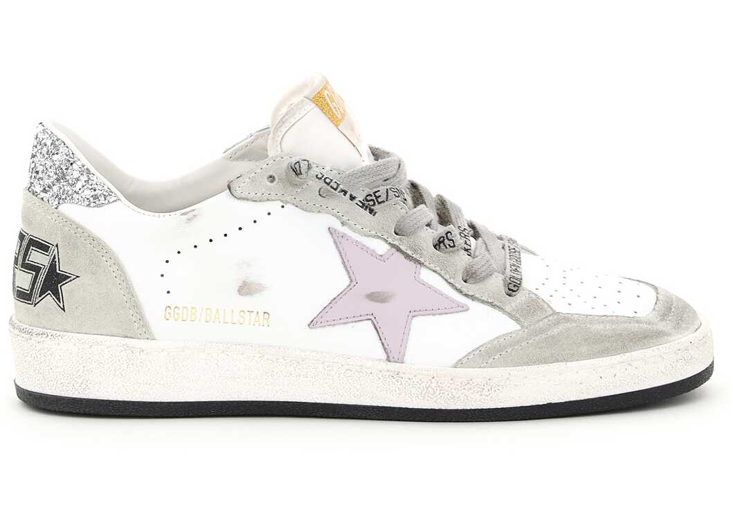 Golden Goose Ball Star Sneakers GWF00117 F001902 WHITE LILAC OIL GREEN SILVER image0