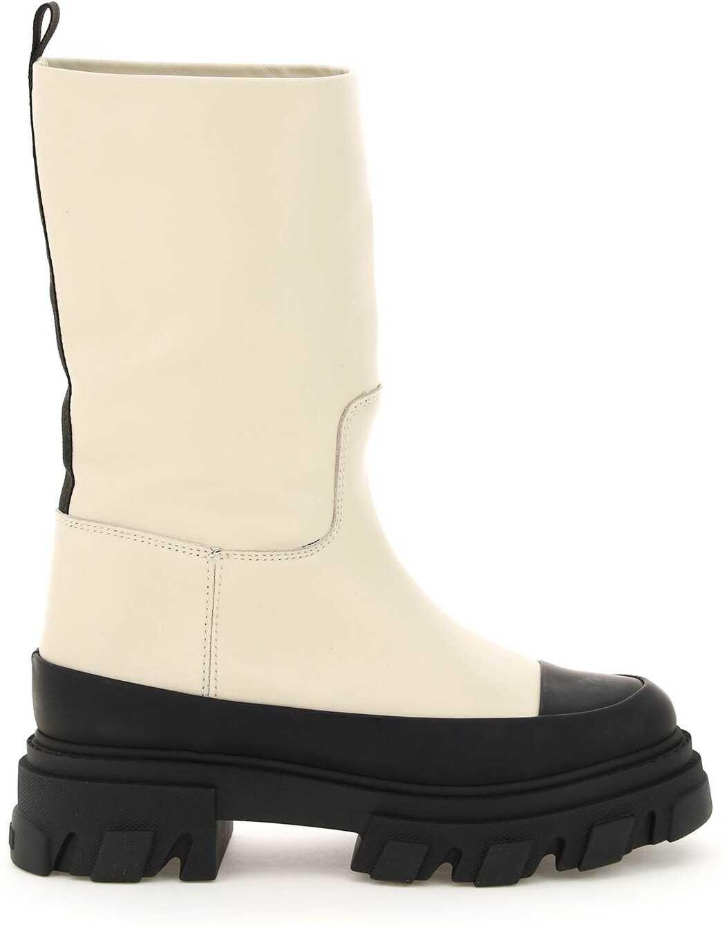Ganni Tubular Leather Boots S1575 OYSTER GREY image0