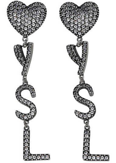 Saint Laurent Earrings 584228Y1526 ARGENT OXYDE/CRYSTAL image0