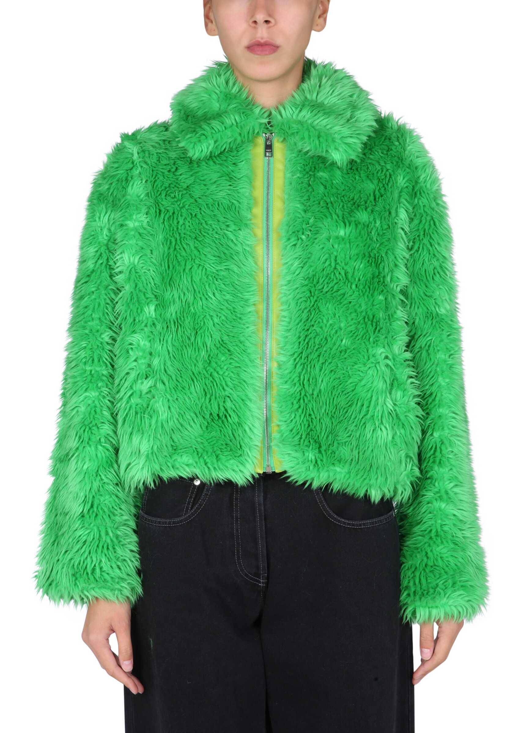 MSGM Faux Fur Jacket 3142MDH101_21780536 GREEN image0
