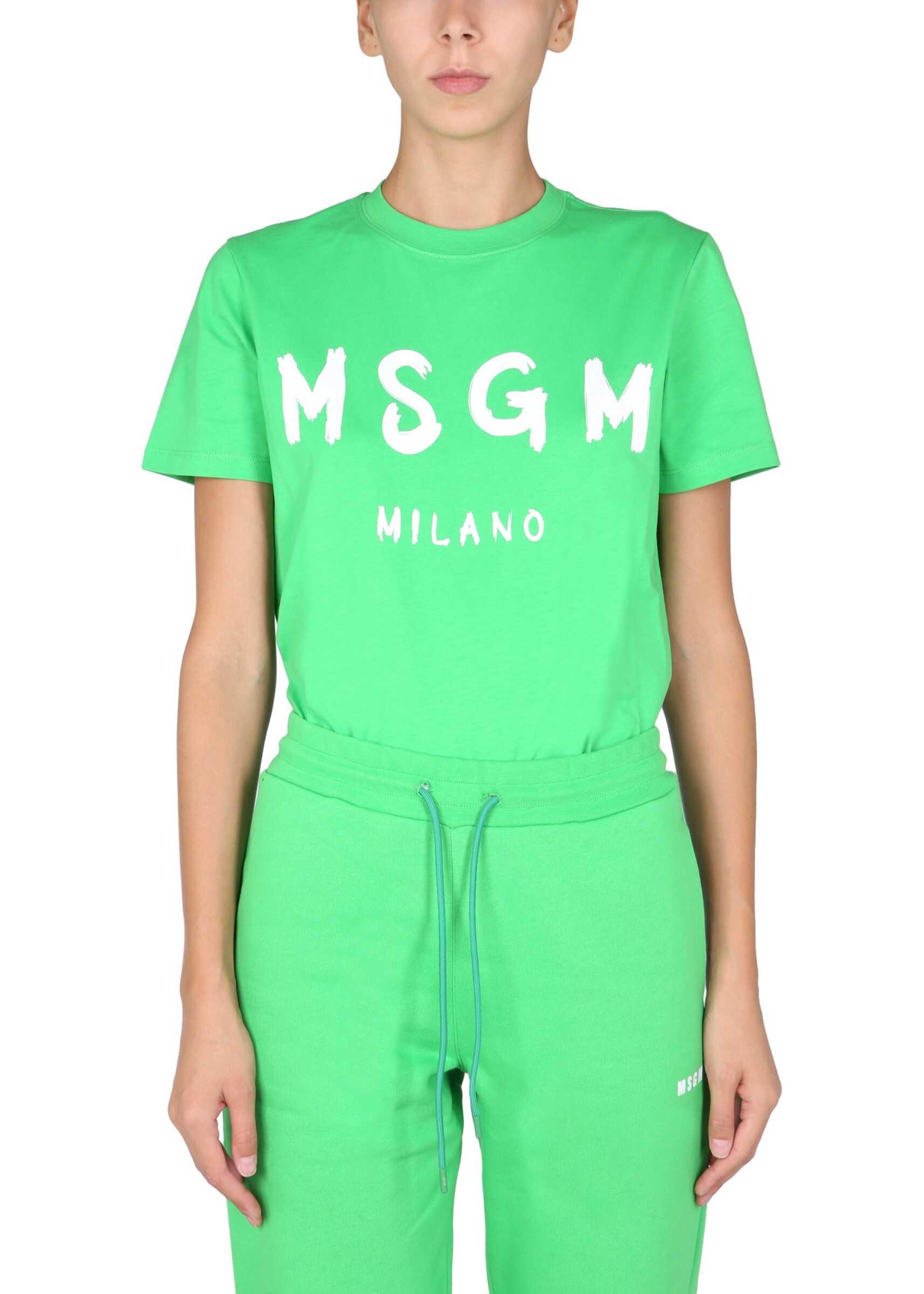 MSGM T-Shirt With Brushed Logo 3142MDM510_21779836 GREEN image0