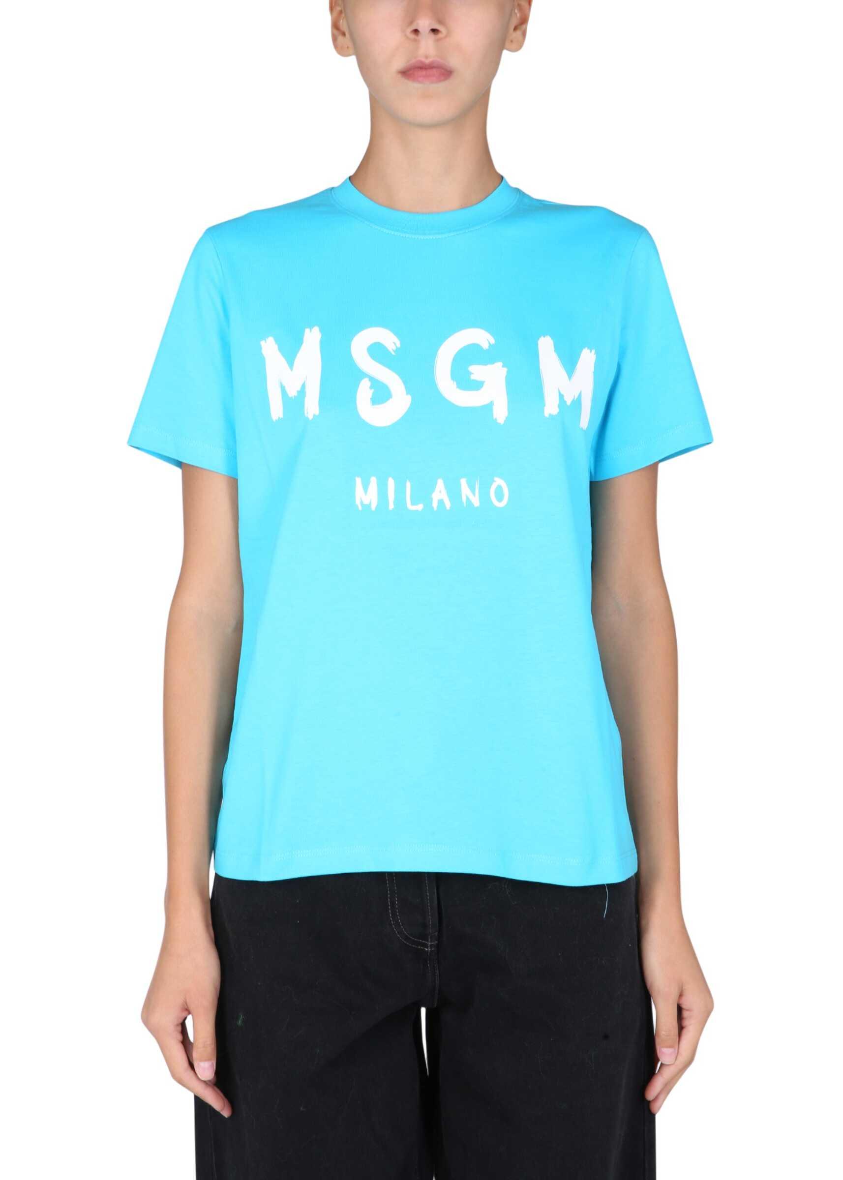 MSGM T-Shirt With Brushed Logo 3142MDM510_21779884 AZURE image0