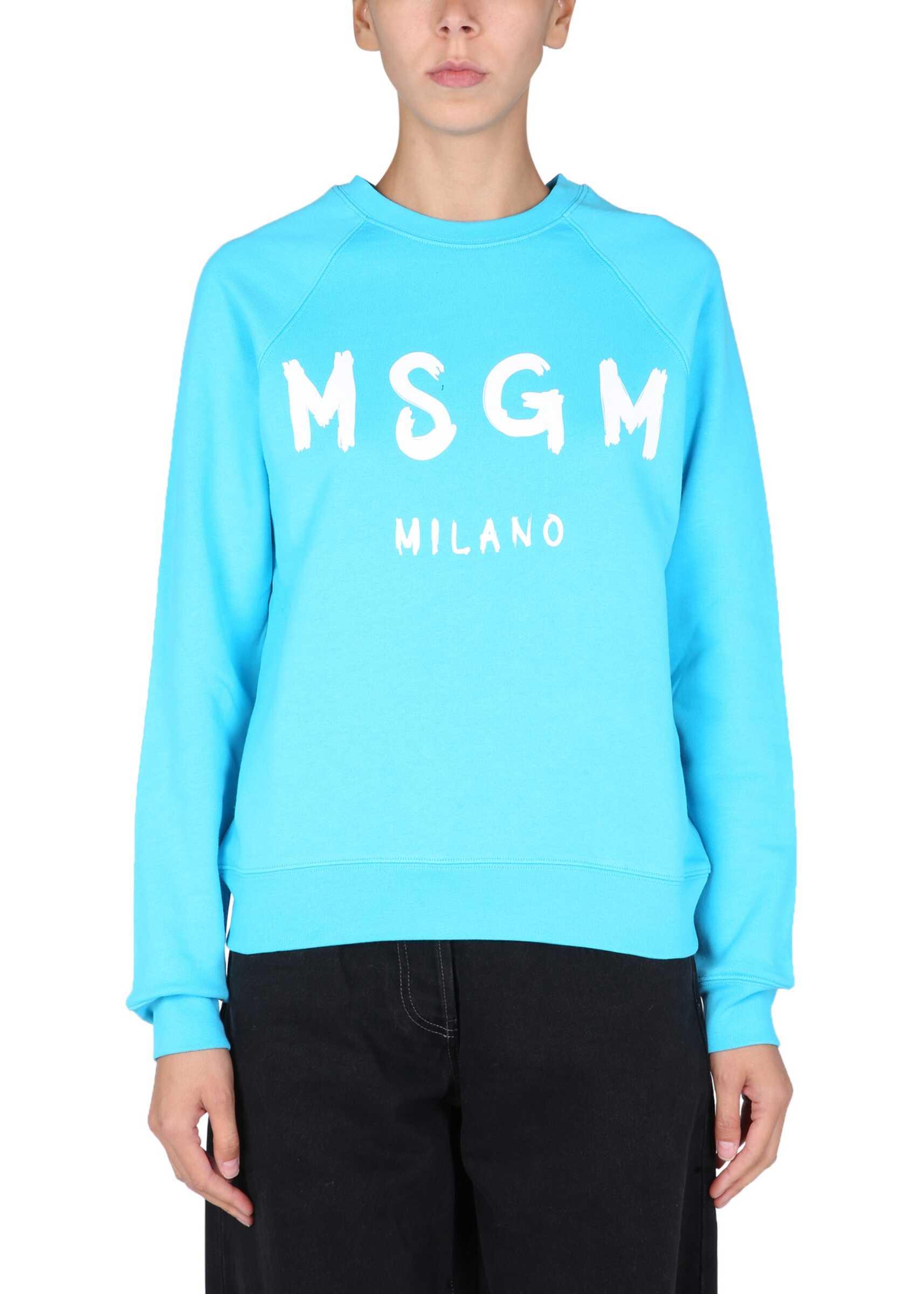 MSGM Sweatshirt With Brushed Logo 3142MDM513_21799984 AZURE image0
