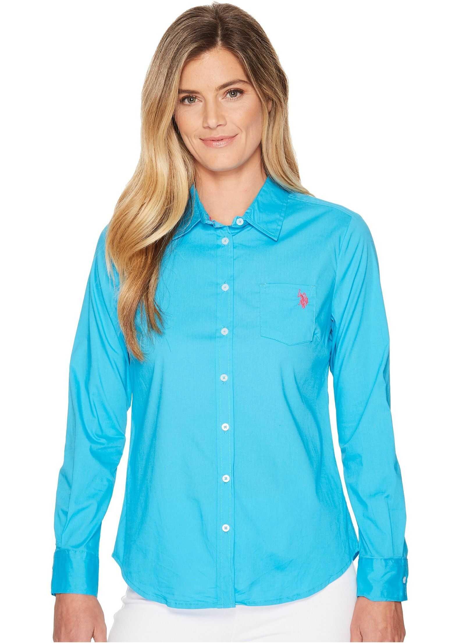 U.S. POLO ASSN. Solid Single Pocket Long Sleeve Shirt Surf Blue