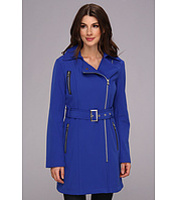 Jachete Asymmetrical PU Trim Belted Soft Shell Coat Femei