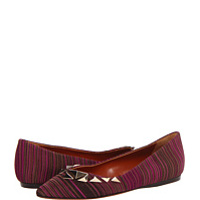 Incaltaminte Stripe Pattern Pointed Flat with Studs